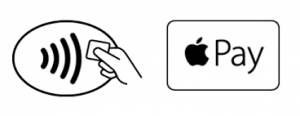 The symbols to look for in stores, apps and websites which indicates that Apple Pay is accepted